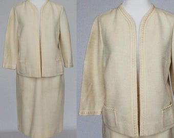 60's Jacket and Skirt Set / Wool Knit / Ivory / Butte Knit / Small