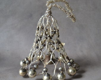 Antique Glass Beaded Wire Bell Christmas Ornament with Tinsel Japan