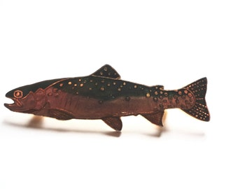 Vintage Salmon Fish Pin  Brooch William Spear Alaska Enamel 1988 Measures 2 Inches Long