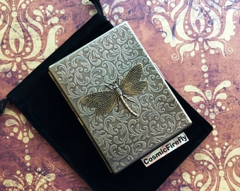 Brass Dragonfly Cigarette Case Vintage Style Gothic Victorian Cigarette Case Floral Pattern Art Nouveau Steampunk Card Case Brass Dragonfly