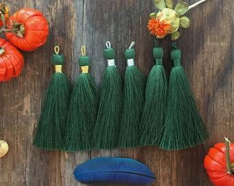 "Dark Moss Green, 3"" Luxe Silk Tassels, Handmade Jewelry Tassels, Long Tassels, Designer Jewelry Making Supplies /Choose Binding Finish, 2pcs"