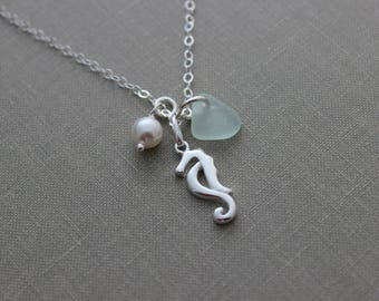 Sterling Silver Seahorse Necklace with Genuine Sea Glass, Swarovski crystal pearl Personalized with choice of beach glass color hippocampus