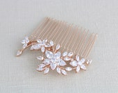 Rose Gold hair comb, Bridal hair comb, Crystal hair comb, Rose Gold headpiece, Swarovski hair comb, Wedding headpiece, Hair accessories LILY