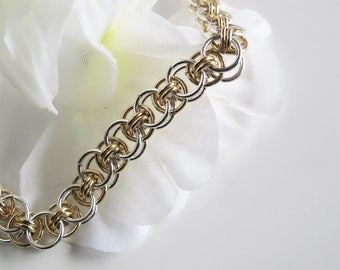 Chain Bracelet: Silver and Gold Handwoven in Celtic Pattern, Toggle Clasp