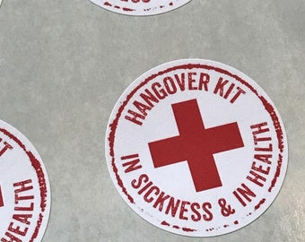 "Wedding Favor Sticker, Hangover Kit Bag Stickers, Hangover Kit Labels, Hangover Kit Stickers, Wedding Favor Labels, 2"" round"