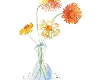 Flower vase painting, Watercolor flower print, Flower poster illustration, Floral still life, Flower print, Botanical art, Flower decor