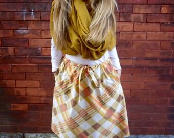 Eco Vintage Plaid Drawstring A Line Midi Skirt with Pockets|Plus Size Skirt|Long Skirt|Circle Skirt|Retro Skirt|Cotton Skirt|Maternity Skirt