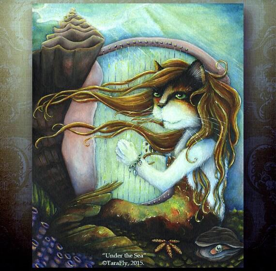Mermaid Cat, Calico Cat Under the Sea, Ocean themed Fantasy Art Print 5x7