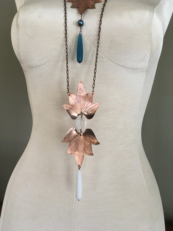 Double Lotus Blossom Necklace with natural quartz crystal and sea glass drops - Copper, Bronze or Sterling