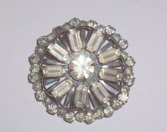 Vintage Round Rhinestone Brooch or Pin