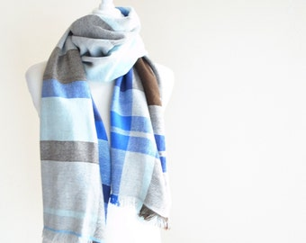 "Cashmere Scarf Blue Brown Mix Handwoven 20"" x 73"""