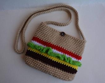 Crocheted Crossbody Cheeseburger Purse