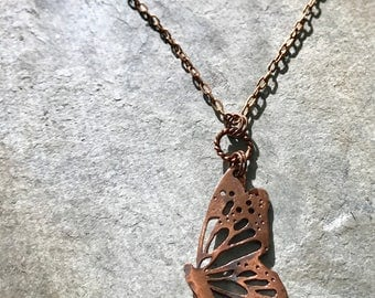 Butterfly Necklace - Copper - Copper Butterfly - Pierce and Cut - Copper Pendant - Butterfly Pendant - One of a Kind - Handmade - Steampunk