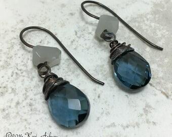 London Blue Quartz Drop Earrings with Grey Moonstone. Gemstone Earrings. Gemstone Jewelry. Blue and Grey Jewellery.