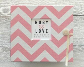 Baby Pink Chevron Stripe | BABY BOOK