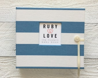 Village Blue and White Canopy Stripe | BABY BOOK
