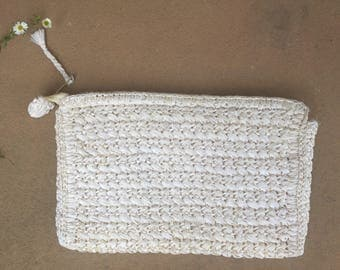 The White Weaved Japanese Clutch Purse