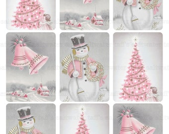 ATC 3.5 x 2.5 Pink Christmas Tag DIY Digital Download vintage printable gift tag card holiday xmas christmas snowman bells town pink xmas