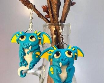 Twin Blue Baby Dragon Buddy Earrings