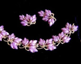 Vintage Encore lilac floral Bracelet and Earrings