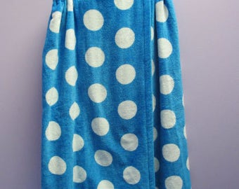 Spa Wrap Personalized Embroidered Womens Turquoise Polka Dot Towel Wrap