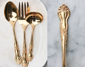 Vintage Gold Flatware / 3 Piece Serving Set / 1960's Gold Electroplate / Hollywood Regency