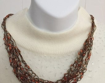 Traditional Chain Crochet Necklace in BROWN Ladder Yarn -  length is adjustable