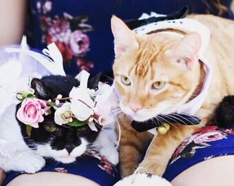 Pet Flower crown cat, puppy hair wreath photo shoot pink peach bridal wedding floral dog collar halo accessories birthday custom sizes