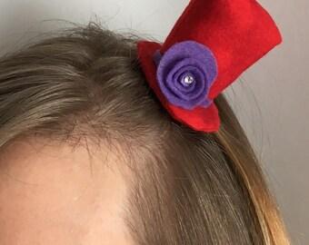 Mini Top Hat - Red & Purple Fascinator
