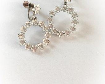 Vintage Flower Hoop Dangle Earrings with Rhinestone Centers Screw Backs