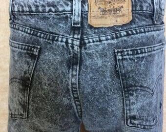 Vintage Levi's Stone Washed Black Denim Jeans 1980s 1990s 35x34