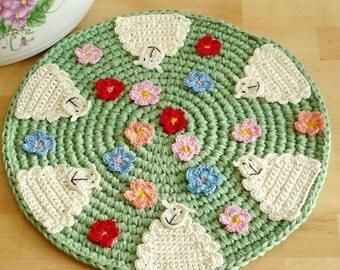 Sheep Kitchen Decor - Crochet Sheep Place Mat - Sheep Hot Pad - Lamb Coaster - Sheep Trivet - Rustic Wedding Gift Idea - Farmhouse decor