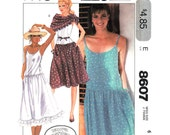 Laura Ashley Dress Pattern McCalls 8607 Low Waist Sundress Spaghetti Strap Pin Tucks, Triangle Scarf Shawl Women Sewing Pattern Size 6 UNCUT