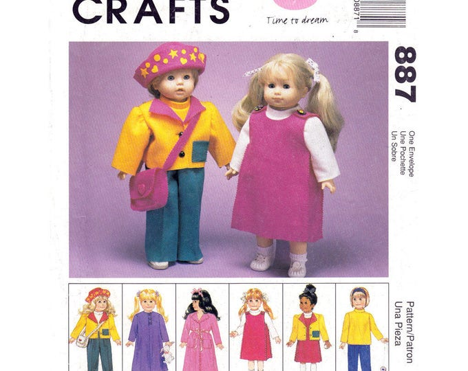 Dolls Clothes Pattern Jacket Top Pants Nightgown Robe Hat McCalls 9067/ 887 Clothing 18 Inch