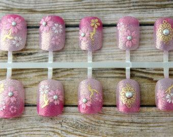 Sakura Ombre Fake Nails   Short Fake Nails   Cherry Blossom Press On Nails   Petite Active Length Nails   Gradation    False Nails for Prom