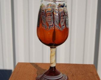 Amber Handblown Wine Glass Goblet