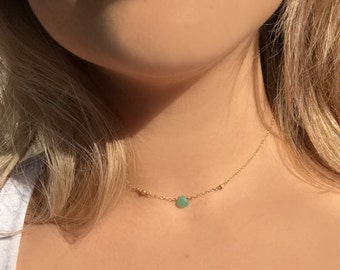Dainty Gold Necklace | Real Jade Necklace | Delicate Necklace | Jade Jewelry | Green Stone Necklace and Faceted Gold Beads