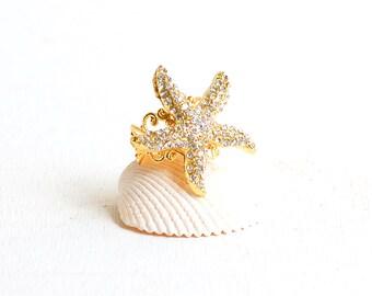 Starfish Ring, Rhinestone Starfish, Mermaid Ring, Beach Wedding, Nautical Ring, Ariel, Beach Wedding, Summer Tropical, Gold Starfish, Gold