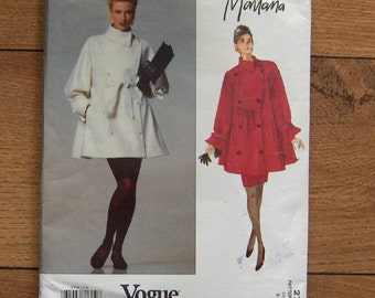 vintage 1991 vogue sewing pattern 2758 misses loose fitting flared double breasted below hip jacket and semi fitted skirt sz 8-10-12 UNCUT