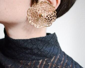 Huge Goldtone Sarah Coventry Filigree Flower Clip On Earrings