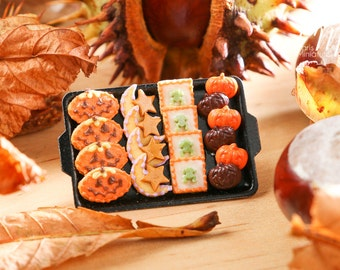 MTO-Miniature Jack O'Lanterns, Moon/Star, Frog Cookies and Treats on Tray for Autumn / Fall / Halloween - 12th Scale Miniature Food
