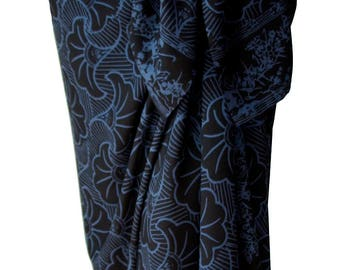 Mens Beach Sarong Batik Pareo Womens Wrap Skirt Beach Clothing Gingko Leaf Beach Sarong Cover Up - Hawaiian Sarong Black & Gray Batik Sarong