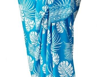 Beach Sarong Pareo Womens Clothing - Beach Wedding Dress Sky Blue Hawaiian Jungle Leaf Batik Sarong Beach Cover Up - Batik Sarong Wrap Skirt