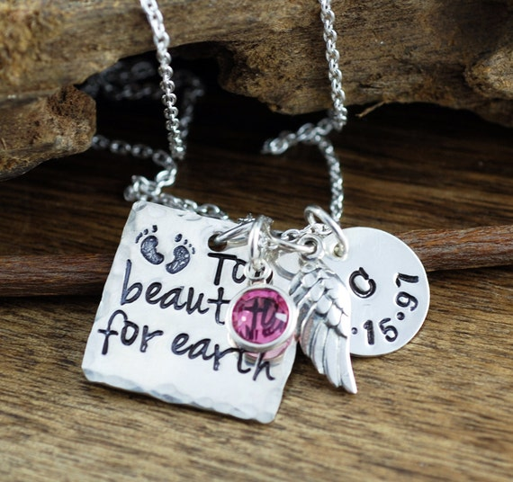Personalized Mothers Memorial Necklace, Too Beautiful For Earth, Hand Stamped Jewelry, Mom Necklace, Personalized Necklace, GIft for Mom