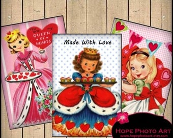 Queen of Hearts Retro Valentine 2.5x3.5 Digital Collage Sheet vintage tags greeting cards ATC ACEO hearts love - U Print 300dpi jpg