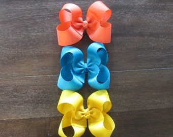 Girls Hair Bows, Classic Hair Bows, Boutique hairbow, Lot Set of 3 Bows, Bow Lot, Girls Bows, Bow Bundles, Big Hairbows, Wholesale bows, 45g