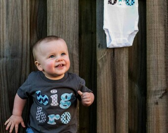 Big Brother Shirt Or Little Brother Shirt, Lil Bro Shirt, Big Bro Shirt -Toddler T Shirt Chevron and Polka Dots on a Heather Grey Shirt