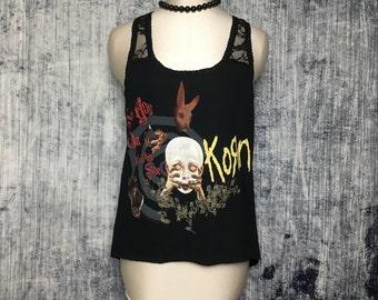 Korn Women's Asymmetrical Tank Top // Reconstructed T-Shirt // Size Medium // Music Metal Rock Goth
