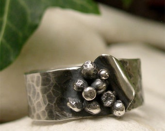 Hammered Sterling Silver Wide Band Ring, Hand Forged Peeled Silver Seed Ring, Unique Organic Jewelry, Natural Oxidized Silver Men's Ring