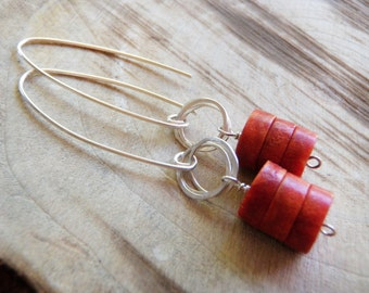 Red Sponge Coral & Sterling Silver Earrings
